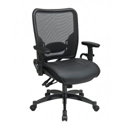 Office Star Products - 6876 - Black Leather Managers Chair 24 Back Height, Arm Style: Adjustable