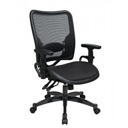 Office Star Products - 6236 - Black Mesh Managers Chair 24 Back Height, Arm Style: Adjustable