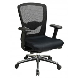 Office Star Products - 511343AT - Black Mesh Desk Chair 21 Back Height, Arm Style: Adjustable