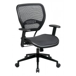 Office Star Products - 5560 - Black Mesh Desk Chair 18-1/2 Back Height, Arm Style: Adjustable