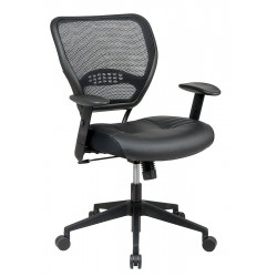 Office Star Products - 5700E - Black Leather Desk Chair 18-1/2 Back Height, Arm Style: Adjustable