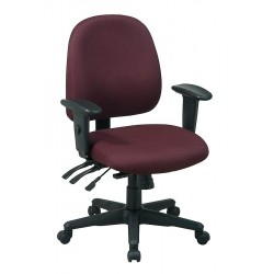 Office Star Products - 43808-227 - Burgundy Fabric Desk Chair 19 Back Height, Arm Style: 2-Way Adjustable