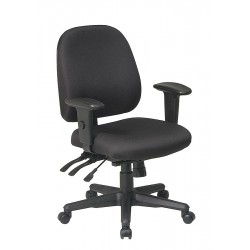 Office Star Products - 43808-231 - Black Fabric Desk Chair 19 Back Height, Arm Style: 2-Way Adjustable