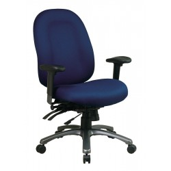 Office Star Products - 8511-225 - Navy Blue Fabric Desk Chair 24-1/4 Back Height, Arm Style: Adjustable