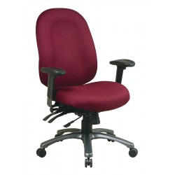Office Star Products - 8511-227 - Burgundy Fabric Desk Chair 24-1/4 Back Height, Arm Style: Adjustable