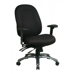 Office Star Products - 8511-231 - Black Fabric Desk Chair 24-1/4 Back Height, Arm Style: Adjustable