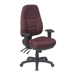 Office Star Products - 2907-227 - Burgundy Fabric Desk Chair 25-1/4 Back Height, Arm Style: Adjustable