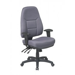 Office Star Products - 2907-226 - Gray Fabric Desk Chair 25-1/4 Back Height, Arm Style: Adjustable