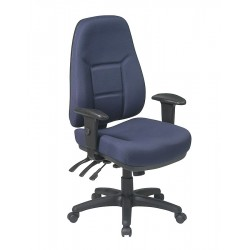 Office Star Products - 2907-225 - Navy Blue Fabric Desk Chair 25-1/4 Back Height, Arm Style: Adjustable