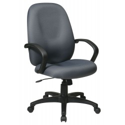 Office Star Products - EX2654-226 - Gray Fabric Executive Chair 25 Back Height, Arm Style: Fixed