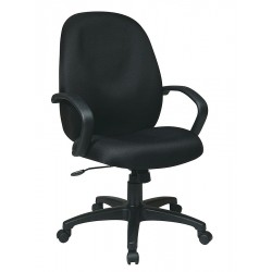 Office Star Products - EX2654-231 - Black Fabric Executive Chair 25 Back Height, Arm Style: Fixed