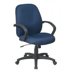 Office Star Products - EX2651-225 - Navy Blue Fabric Executive Chair 21 Back Height, Arm Style: Fixed