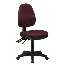 Office Star Products - 36420-227 - Burgundy Fabric Desk Chair 18-1/2 Back Height, Arm Style: No Arms