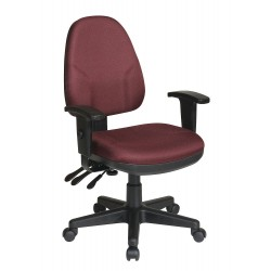 Office Star Products - 36427-227 - Burgundy Fabric Desk Chair 18-1/2 Back Height, Arm Style: 2-Way Adjustable