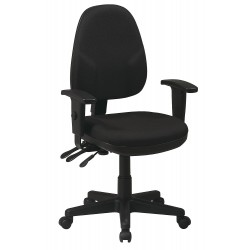 Office Star Products - 36427-231 - Black Fabric Desk Chair 18-1/2 Back Height, Arm Style: 2-Way Adjustable