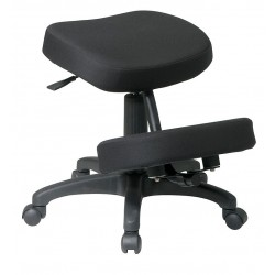 Office Star Products - KCM1425 - Black Fabric Knee Desk Chair, Arm Style: No Arms