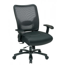 Office Star Products - 75-47A773 - Black Leather Desk Chair 22-1/4 Back Height, Arm Style: Adjustable