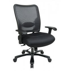 Office Star Products - 75-37A773 - Black Mesh Desk Chair 22-1/4 Back Height, Arm Style: 2-Way Adjustable
