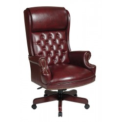 Office Star Products - TEX228-JT4 - Brown Vinyl Executive Chair 27-1/4 Back Height, Arm Style: Fixed