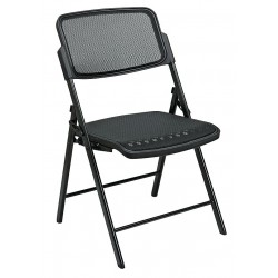 Office Star Products - 81308 - Black Steel Folding Chair with Black Seat Color, 2PK