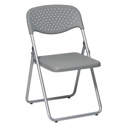 Office Star Products - FC8000NS-2 - Silver Steel Folding Chair with Gray Seat Color, 4PK