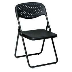 Office Star Products - FC8000NP-3 - Black Steel Folding Chair with Black Seat Color, 4PK