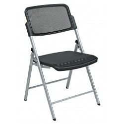 Office Star Products - 81608 - Silver Steel Folding Chair with Black Seat Color, 2PK