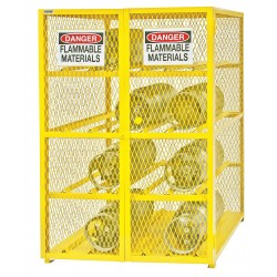 Durham - EGCC12-50 - Yellow Gas Cylinder Cabinet, 50 Overall Width, 42 Overall Depth, 71-3/4 Overall Height, 12 Horizo