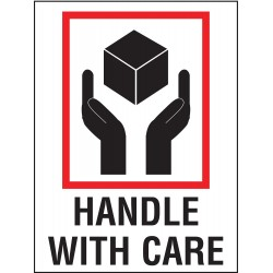 Tapecase - 16U791 - Shipping Labels, Handle with Care Legend, Paper, Adhesive Back, 3 Width, 4 Height