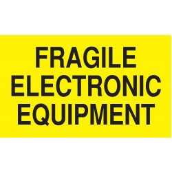 Tapecase - 16U792 - Shipping Labels, Fragile Electronic Equipment Legend, Paper, Adhesive Back, 5 Width, 3 Height