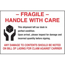 Tapecase - 16U799 - Shipping Labels, Fragile, with Disclaimer Legend, Paper, Adhesive Back, 6 Width, 4 Height