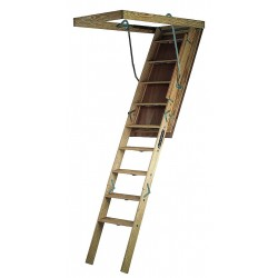 Louisville Ladder - S305P - Attic Ladder, Wood, 350 lb. Load Capacity, 7 ft. to 8 ft. 9 Ceiling Height Range