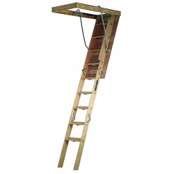 Louisville Ladder - CL224P - Attic Ladder, Wood, 300 lb. Load Capacity, 8 ft. 9 to 10 ft. Ceiling Height Range