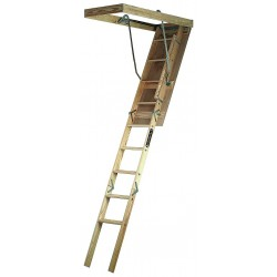 Louisville Ladder - S224P - Attic Ladder, Wood, 250 lb. Load Capacity, 7 ft. to 8 ft. 9 Ceiling Height Range