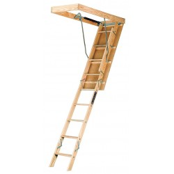 Louisville Ladder - L224P - Attic Ladder, Wood, 250 lb. Load Capacity, 8 ft. 9 to 10 ft. Ceiling Height Range