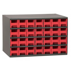 Akro-Mils / Myers Industries - 19228RED - Drawer Bin Cabinet, 11 Overall Height, 17 Overall Width, Number of Drawers or Bins 28