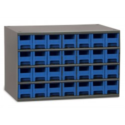 Akro-Mils / Myers Industries - 19228BLU - Drawer Bin Cabinet, 11 Overall Height, 17 Overall Width, Number of Drawers or Bins 28