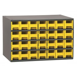 Akro-Mils / Myers Industries - 19228YEL - Drawer Bin Cabinet, 11 Overall Height, 17 Overall Width, Number of Drawers or Bins 28