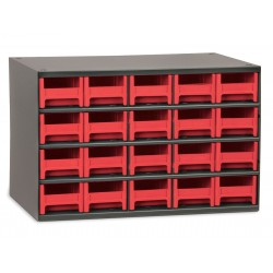 Akro-Mils / Myers Industries - 19320RED - Drawer Bin Cabinet, 11 Overall Height, 17 Overall Width, Number of Drawers or Bins 20
