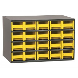 Akro-Mils / Myers Industries - 19320YEL - Drawer Bin Cabinet, 11 Overall Height, 17 Overall Width, Number of Drawers or Bins 20