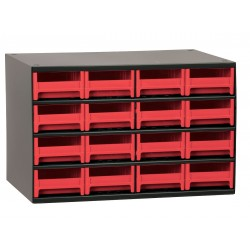 Akro-Mils / Myers Industries - 19416RED - Drawer Bin Cabinet, 11 Overall Height, 17 Overall Width, Number of Drawers or Bins 16