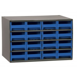 Akro-Mils / Myers Industries - 19416BLU - Drawer Bin Cabinet, 11 Overall Height, 17 Overall Width, Number of Drawers or Bins 16