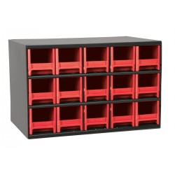 Akro-Mils / Myers Industries - 19715RED - Drawer Bin Cabinet, 11 Overall Height, 17 Overall Width, Number of Drawers or Bins 15