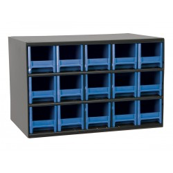 Akro-Mils / Myers Industries - 19715BLU - Drawer Bin Cabinet, 11 Overall Height, 17 Overall Width, Number of Drawers or Bins 15