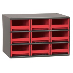 Akro-Mils / Myers Industries - 19909RED - Drawer Bin Cabinet, 11 Overall Height, 17 Overall Width, Number of Drawers or Bins 9