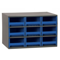 Akro-Mils / Myers Industries - 19909BLU - Drawer Bin Cabinet, 11 Overall Height, 17 Overall Width, Number of Drawers or Bins 9