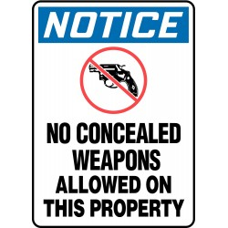 Accuform Signs - MACC816VS - Weapons, Devices or Substances, Notice, Vinyl, 14 x 10, Adhesive Surface, Not Retroreflective