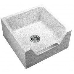 Acorn Engineering - TDF-24 - 24 x 24 x 12 Palomino Tan Mop Sink with Stainless Steel Capped Front Drop, 4 Bowl Depth, Precast T