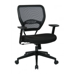 Office Star Products - 55-7N17-231 - Black Fabric Desk Chair 19 Back Height, Arm Style: Adjustable