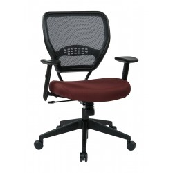 Office Star Products - 55-7N17-227 - Burgundy Fabric Desk Chair 19 Back Height, Arm Style: Adjustable